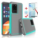 "UNA SELLER For Samsung Galaxy S20 Ultra 6.9"" 2020 Shockproof Case Cover + Screen Protector #Turquois"