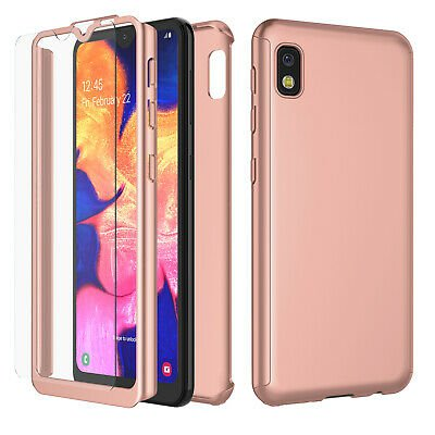 UNA SELLER For Samsung Galaxy A10e Slim Case Cover with Tempered Glass Screen Protector #Rose Gold
