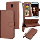 UNA SELLER Samsung Galaxy J3 2018 / SM-J337A Leather Wallet Stand Case + Card Holder #Brown