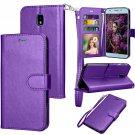 UNA SELLER Samsung Galaxy J3 2018 / SM-J337A Leather Wallet Stand Case + Card Holder #Purple