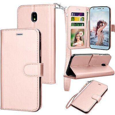 UNA SELLER Samsung Galaxy J3 V 2018 / SM-J337V Leather Wallet Stand Case + Card Holder #Rose Gold