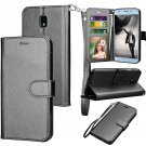 UNA SELLER Samsung Galaxy J3 Star / SM-J337T Leather Wallet Stand Case + Card Holder #Black