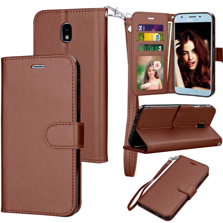 UNA SELLER Samsung Galaxy J3 Orbit / SM-S367VL Leather Wallet Stand Case + Card Holder #Brown