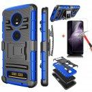 UNA SELLER Motorola Moto Z4 Case with Kickstand Belt Clip Cover+Glass Screen Protector #Blue