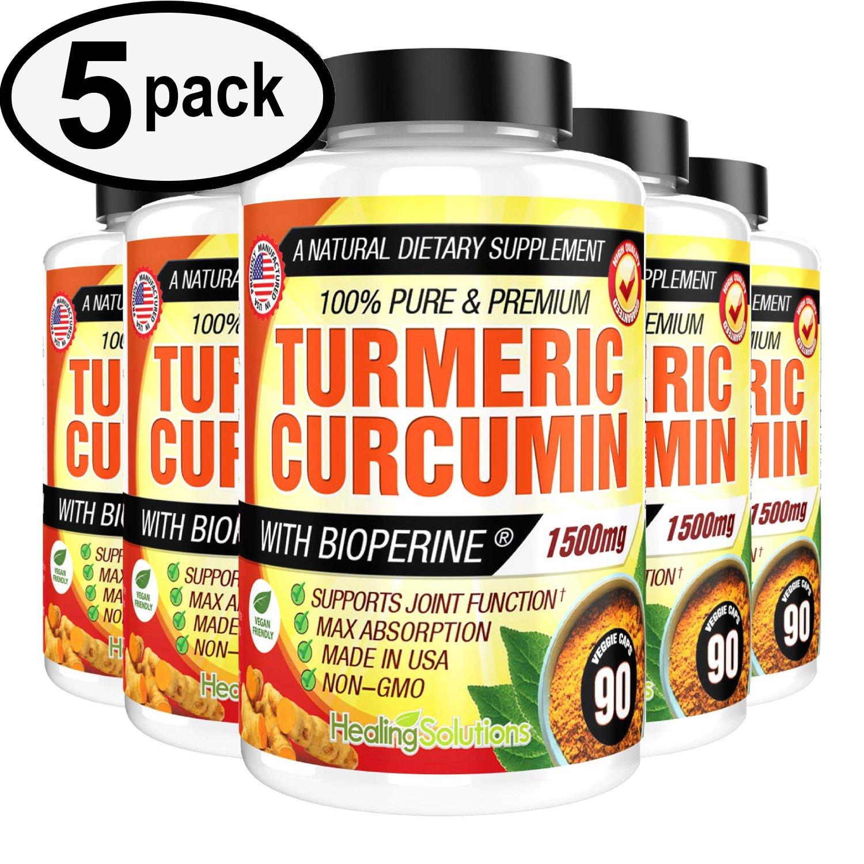 UNA SELLER 5 PACK Turmeric Curcumin 1500 mg Ultra High Absorption Extra Strength 90ct