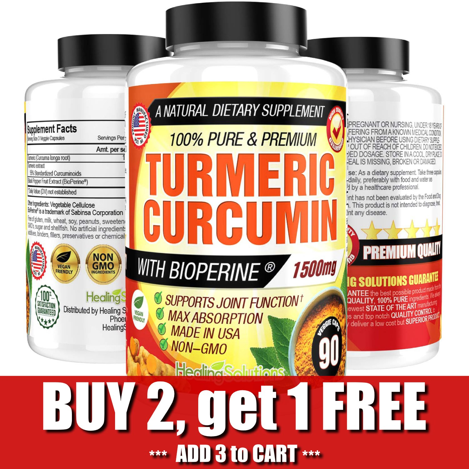 UNA SELLER Turmeric Curcumin 1500 mg Ultra High Absorption Extra Strength Vegan Capsules 90