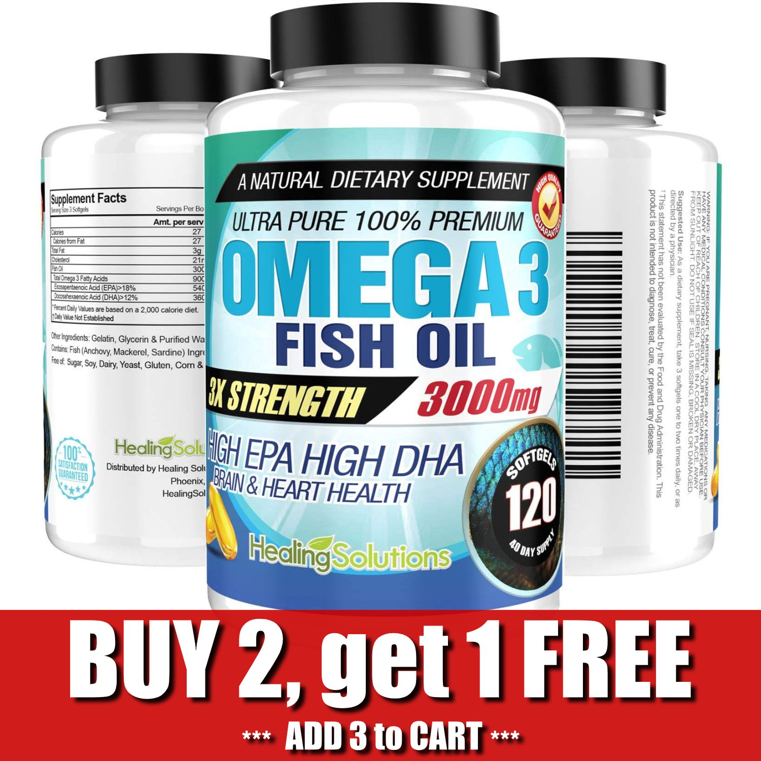 UNA SELLER Ultra Pure Omega 3 Fish Oil 3000mg Small, Potent, Joint Pain Relief - XL 120ct