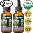 UNA SELLER 2 PACK GRAPE Hemp Oil Drops for Pain Relief, Stress, Anxiety, Sleep
