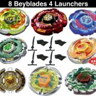 Una Wholesale Lot Pack of 8 Assorted Beyblades Metal Master Set + 4 Launchers USA