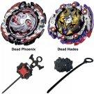 Una Dead Hades + Dead Phoenix + 2 Launchers Set Lot of 2 Beyblades Burst Series