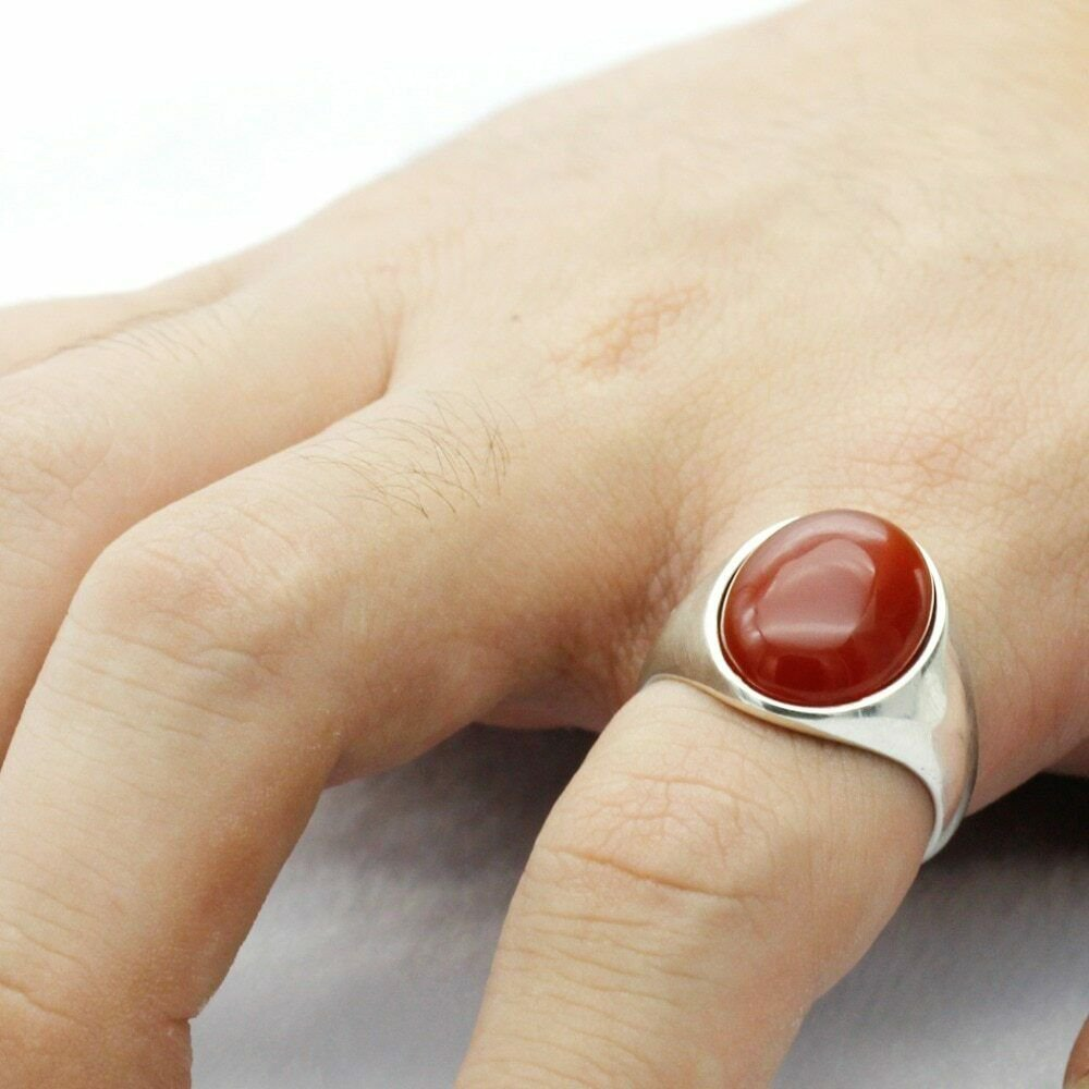 925 Sterling Silver Men Ring with Natural Red Onyx Stone Ring for Men Women Tu