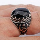 925 Sterling Silver Men Ring with Oval Black Stone Rings for Men Lucky Grass Sym