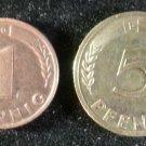 Lot 2 Coin Germany 1 Pfennig 5 Pfennig 1949