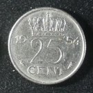 Coin Netherlands 25 Cent 1954