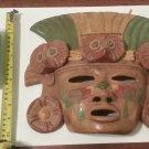 Mayan Aztec Terra Cotta Clay Mask Birds Wall Face Mask
