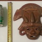 Mayan Aztec Terra Cotta Clay Mask Wall Face Mask with Maize