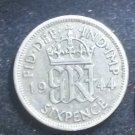 Coin Great Britain England UK Sixpence 1944 Silver