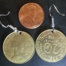 France French Real Coin Earrings 20 Centimes