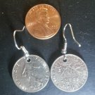 France French Real Coin Earrings 1/2 Franc