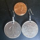 France French Real Coin Earrings 1 Franc