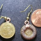 France French Real Vintage Coin Earrings 5 Centimes