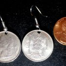 Belgium Real Vintage Coin 1970s Earrings boucles d'oreilles