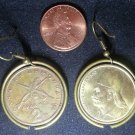Greece Real Vintage Riffles Coin Earrings boucles d'oreilles