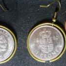 Denmark Real Vintage 1970s Coin 1 krone Earrings boucles d'oreilles