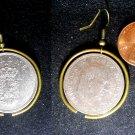 Denmark Real Vintage 1960s Coin 1 krone Earrings boucles d'oreilles