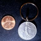 France French Real Vintage 1991 Coin 1 Franc Keychain