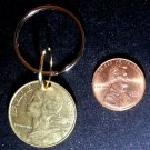 France French Real Vintage 1989 Coin 20 Centimes Keychain