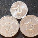 Lot 3 Coin Caribbean 1 Centavo 1972 5 Centavos 1968 1971