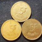 Lot 3 Coin Belgium 5 Francs 1986 1987 1988