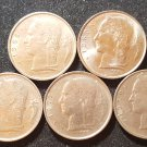 Lot 5 Coin Belgium 1 Franc Dutch Text 1968 1969 1972 1977 1980