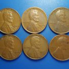 Lot 6 Coin US 1 Cent Lincoln Wheat 1936 1937 1938 1939 1940