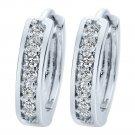 925 Sterling Silver Pt Cubic CZ Hoop Huggie Earrings 15mm Men Women E48-1 Silver From USA