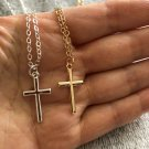 """Women's Silver Plated Small Tiny Cross Pendant Necklace Link Chain 18"""" N2-1 Gold From USA"""