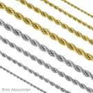 Stainless Steel Rope Chain Necklace Boys and Mens Lengths 2mm Gold 18 in From USA