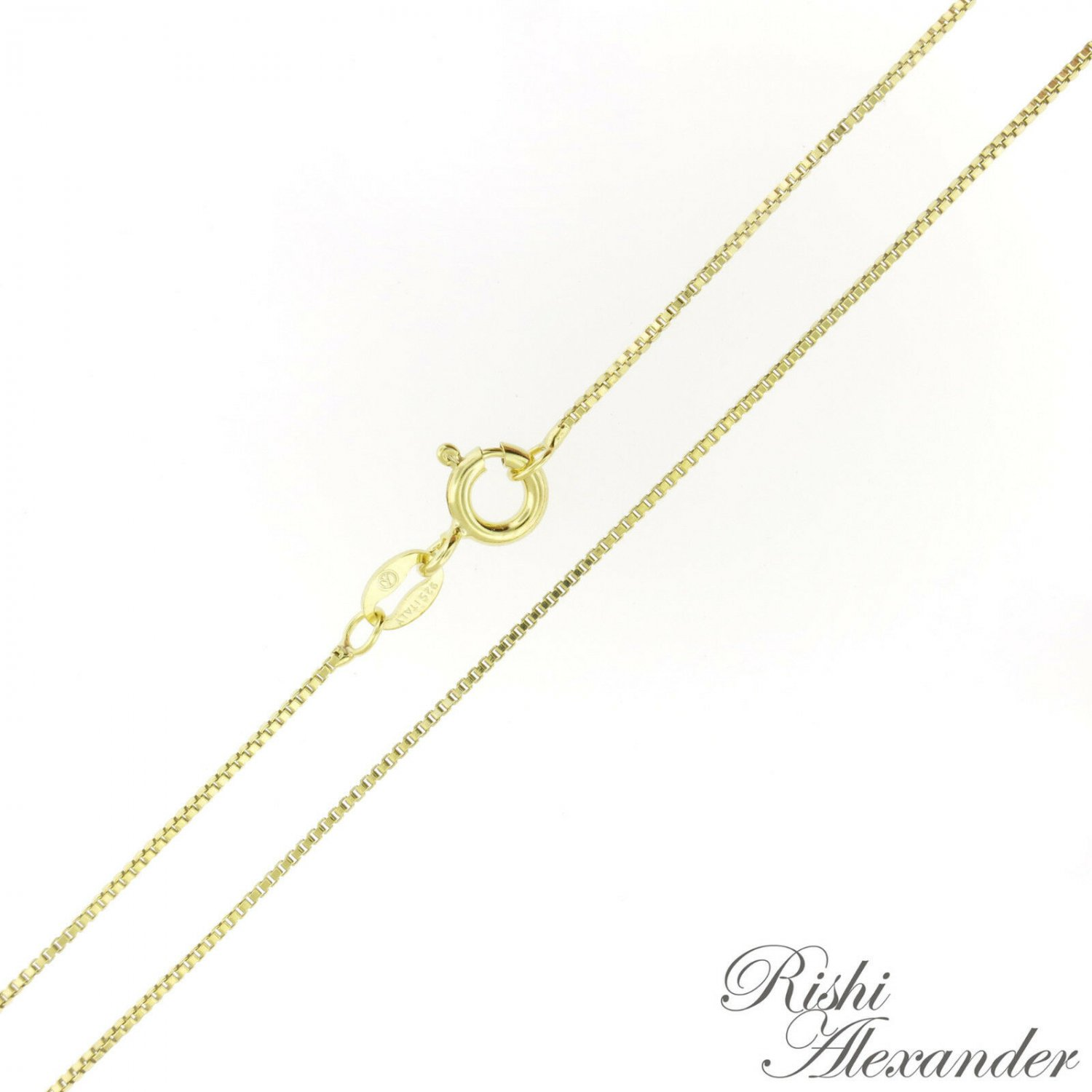 "14K Gold over 925 Sterling Silver BOX Chain Necklace Vermeil .8mm Stamped 925 16"" Inch From USA"