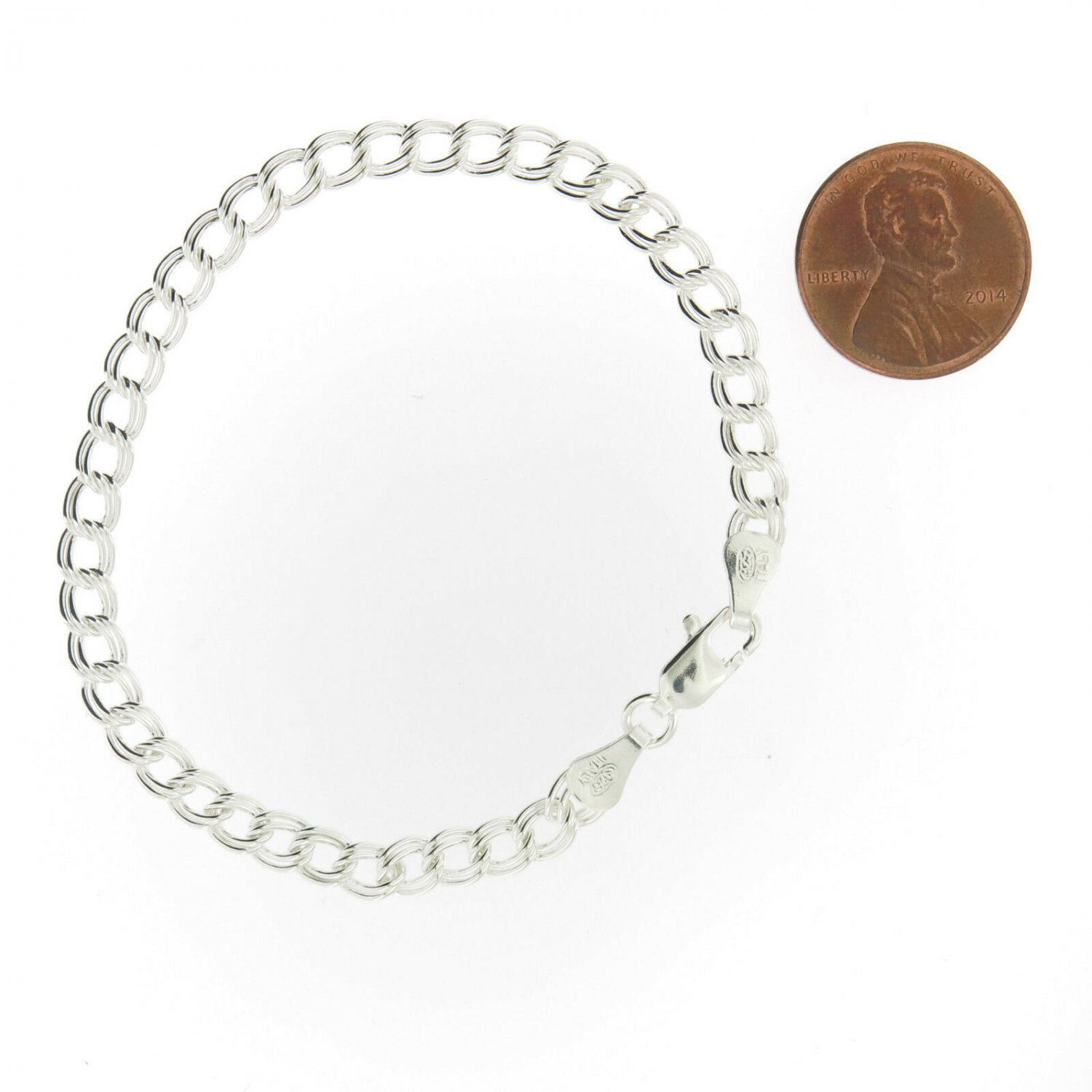 """925 Sterling Silver Double Link Parallelo Charm Bracelet and Anklet All Sizes 5mm 6"""" (Children, Adul"""