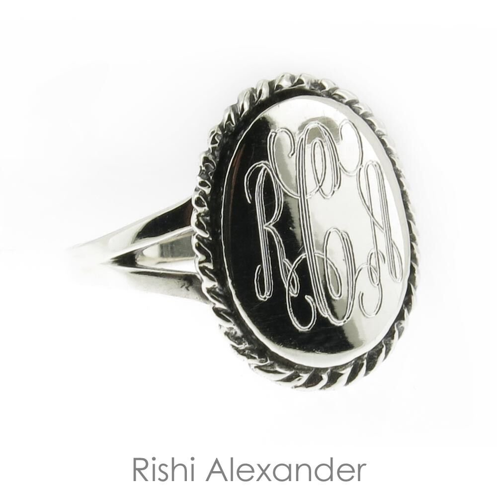 925 Sterling Silver Monogram Engravable Oval with Thick Rope Edge Signet Ring 7 From USA