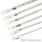 """925 Sterling Silver Diamond Cut Rope Chain Bracelet .925 Italy All Sizes 3.0mm 8"""" Inch From USA"""
