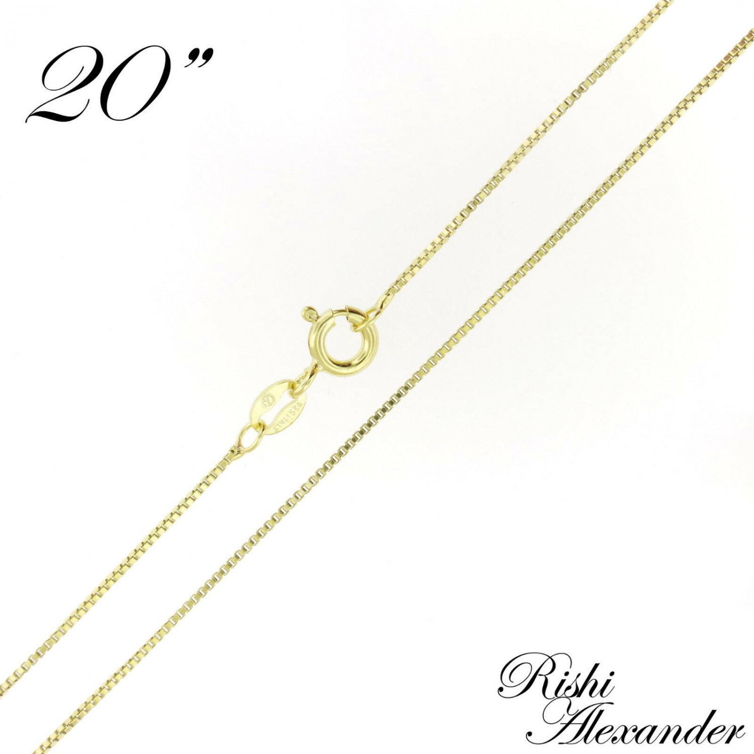 """14k Gold over 925 Sterling Silver Box Chain Necklace 0.8mm Wholesale Lot of 10 20"""" Inch 10 Chains Fr"""