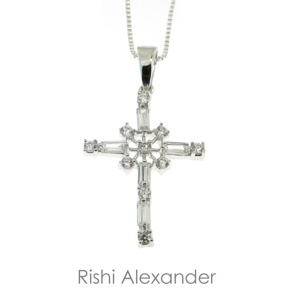 925 Sterling Silver CZ Snowflake Cross Pendant without chain From USA