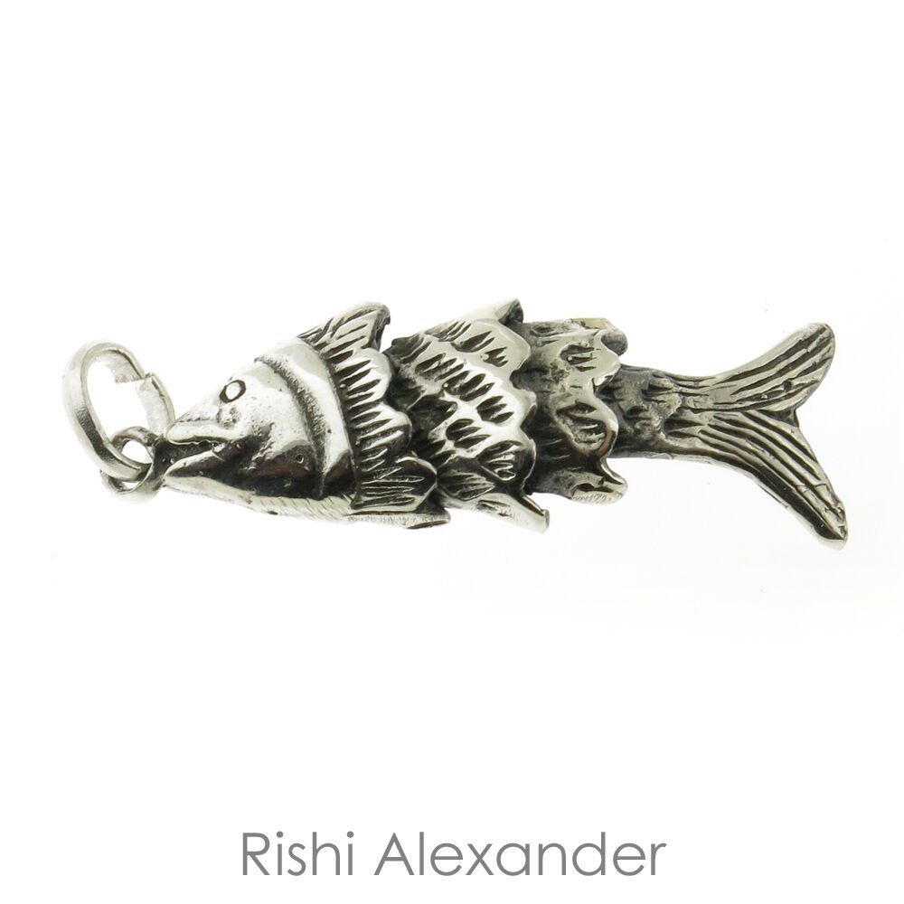 "925 Sterling Silver Fish Pendant with 20"" Chain From USA"