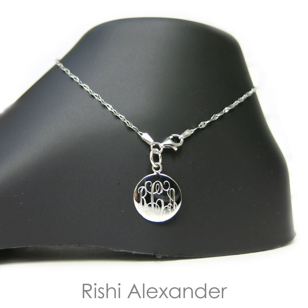 """925 Sterling Silver Delicate Coffee Link Monogram Personalized Anklet 9"""" Inch From USA"""