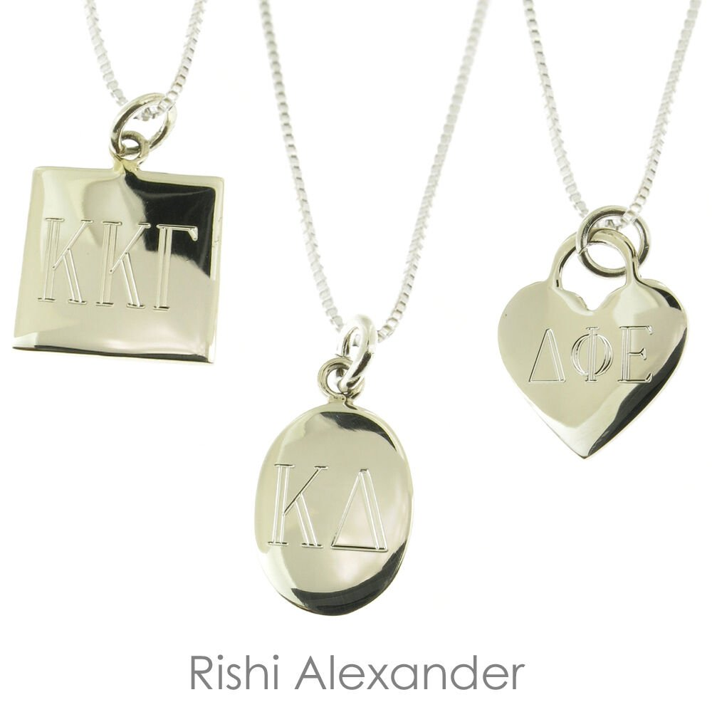 925 Sterling Silver Greek Sorority Monogram Necklace Pick any Chain Style Box Round From USA