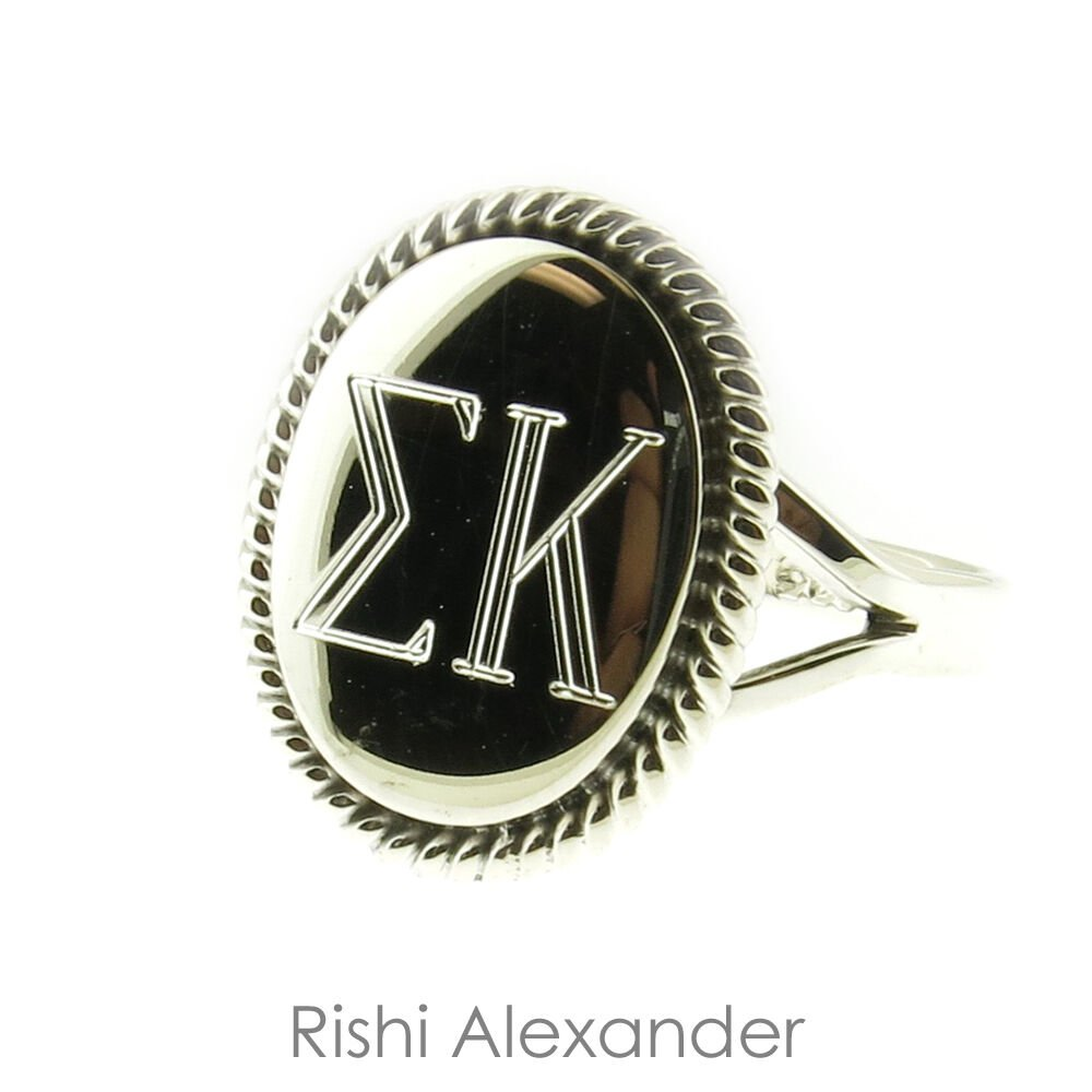 925 Sterling Silver Greek Letters Monogram Sorority Rings Multiple Styles Oval Rope 7 From USA