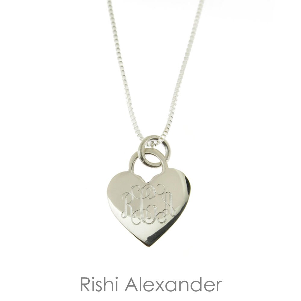 925 Sterling Silver Monogram Personalized Heart Necklace Pick any Chain Style Diamond Cut Snake From