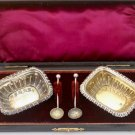 Set of Victorian Solid Sterling Silver Salts in Original Box + FULL HALLMARKED!!